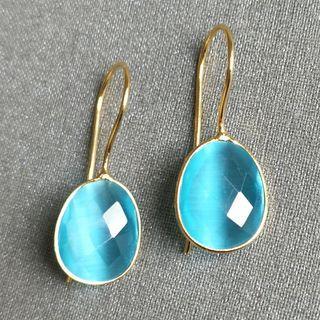 BNIP Sky blue aquamarine crystal quartz monalisa oval faceted gold plated hoop hook earrings
