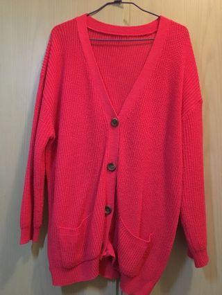 🚚 桃紅色針織粗毛線外套
