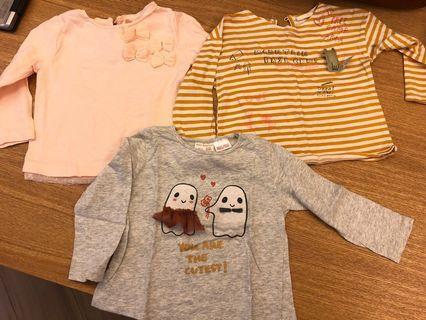 $60 3件 Zara baby girl tee 9/12 months