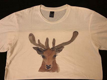 彩繪鹿白T-shirt