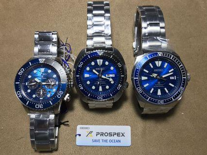 "Seiko Prospex ""Save the ocean"" diver watch."