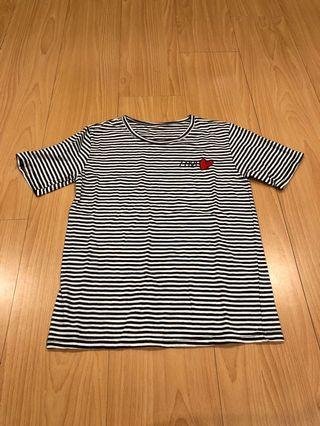 🚚 棉料條文愛心loveT-shirt