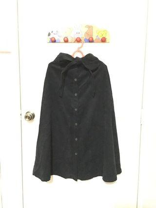 Suede Black Maxi Button Down Skirt