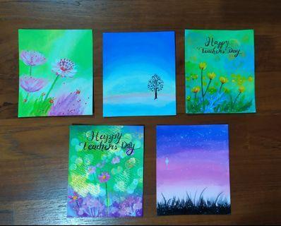 Set of 5 Teacher's Day gift mini acrylic painting