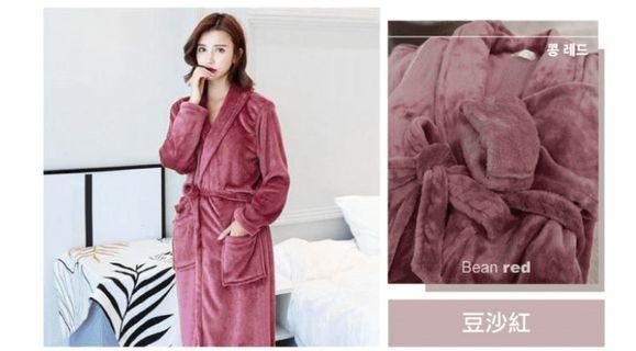 氣質紅珊瑚絨浴袍睡袍