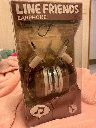 耳罩式耳機LINE earphone 熊大