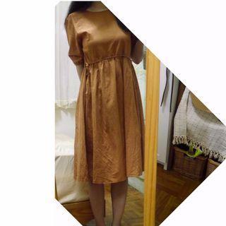 韓 焦糖色咖啡色 麻料綁帶洋裝