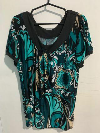 Blue green abstract top