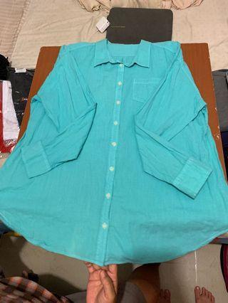 🚚 湖水綠長袖襯衫 #轉轉香噴噴
