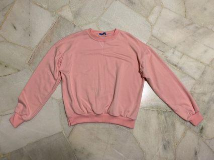 baby pink oversized pullover hoodie sweater