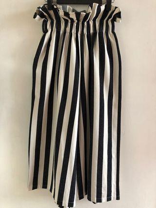 🈹二手特價🈹韓國Lao Lao木耳邊條紋九分闊褲