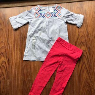 Carter's leggings and blouse set