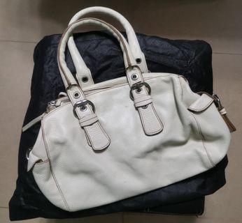 Rabeanco Vintage Leather Bag White 米白色皮袋