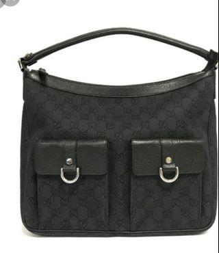 GUCCI BLACK GG ABBEY HOBO BAG Authentic