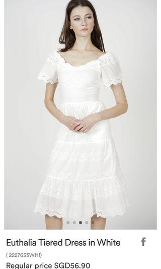 New MDS Euthalia Tiered Dress in white