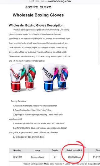 Wolon boxing gloves muaythai gloves size 10 oz