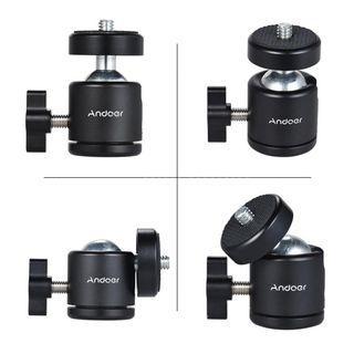 "Andoer Mini Tripod Metal Ball Head Adapter Ballhead Mount with 1/4"" Screw"