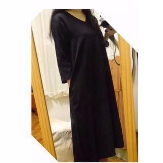 無印良品 v領七分袖平織棉休閒洋裝 黑色s