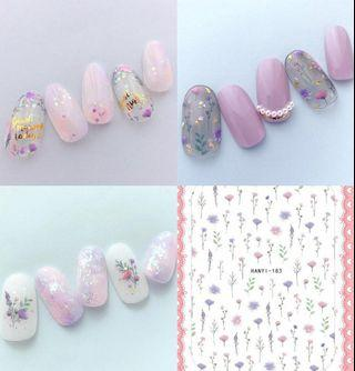 BNIP Pastel Pink Purple Wildflowers Small wild flowers floral fern botanical Garden watercolour nail stickers nail art nail decal