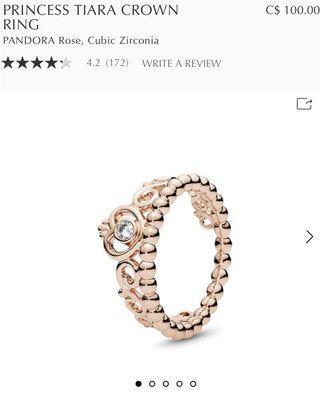 Pandora Rose gold tiara ring Size 4.5