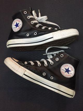All star黑皮鞋