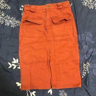 🚚 師大購入 韓版橘色氣質中長裙