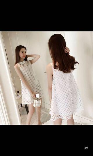 韓國高貴高腰寛鬆連身裙黑白兩色$150包順豐