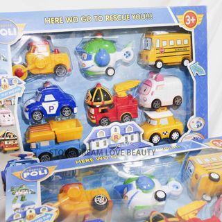 🚚 《現貨》卡通波力自動迴力車 POLI汽車模型玩具 Q版警車兒童玩具 珀利自動車 回力車 (八隻裝)