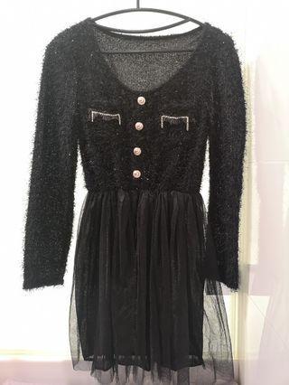 🚚 華麗感黑色洋裝 毛料