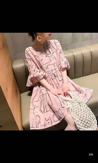 韓國寬鬆復古連身裙$150包順豐