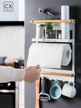 ((全新))北歐冰箱置物架 磁鐵免打孔 側掛架側邊冰箱 紙巾保鮮膜側壁掛 廚房的好幫手~