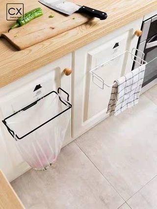 🚚 ((全新))創意可掛式垃圾袋收納架 垃圾筒支架 廚房垃圾袋 塑膠袋架子
