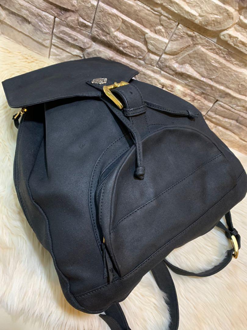 Backpack Versace original auth unisex medium size full suede leather keren