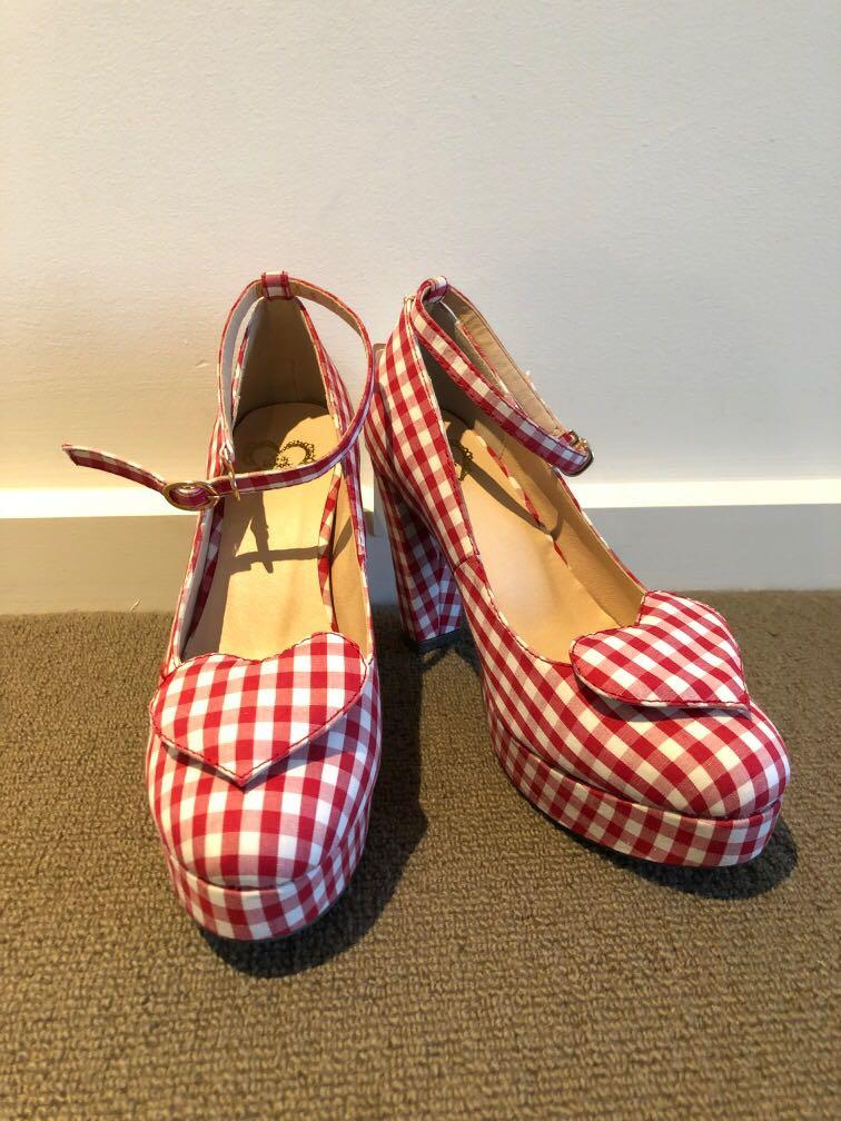 Brand new japan Ank Rouge vintage red checked platform shoes