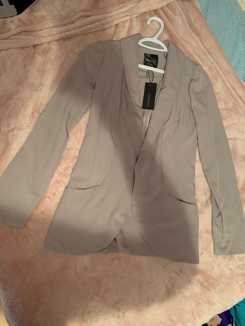 Brand New Light Grey Dynamite Woven Blazer (Size S)