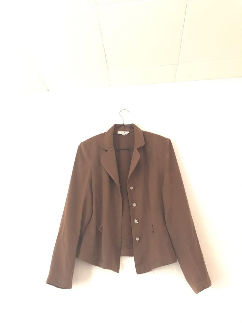 Brown Shoulder Pad Corporate Work Office Formal Blouse