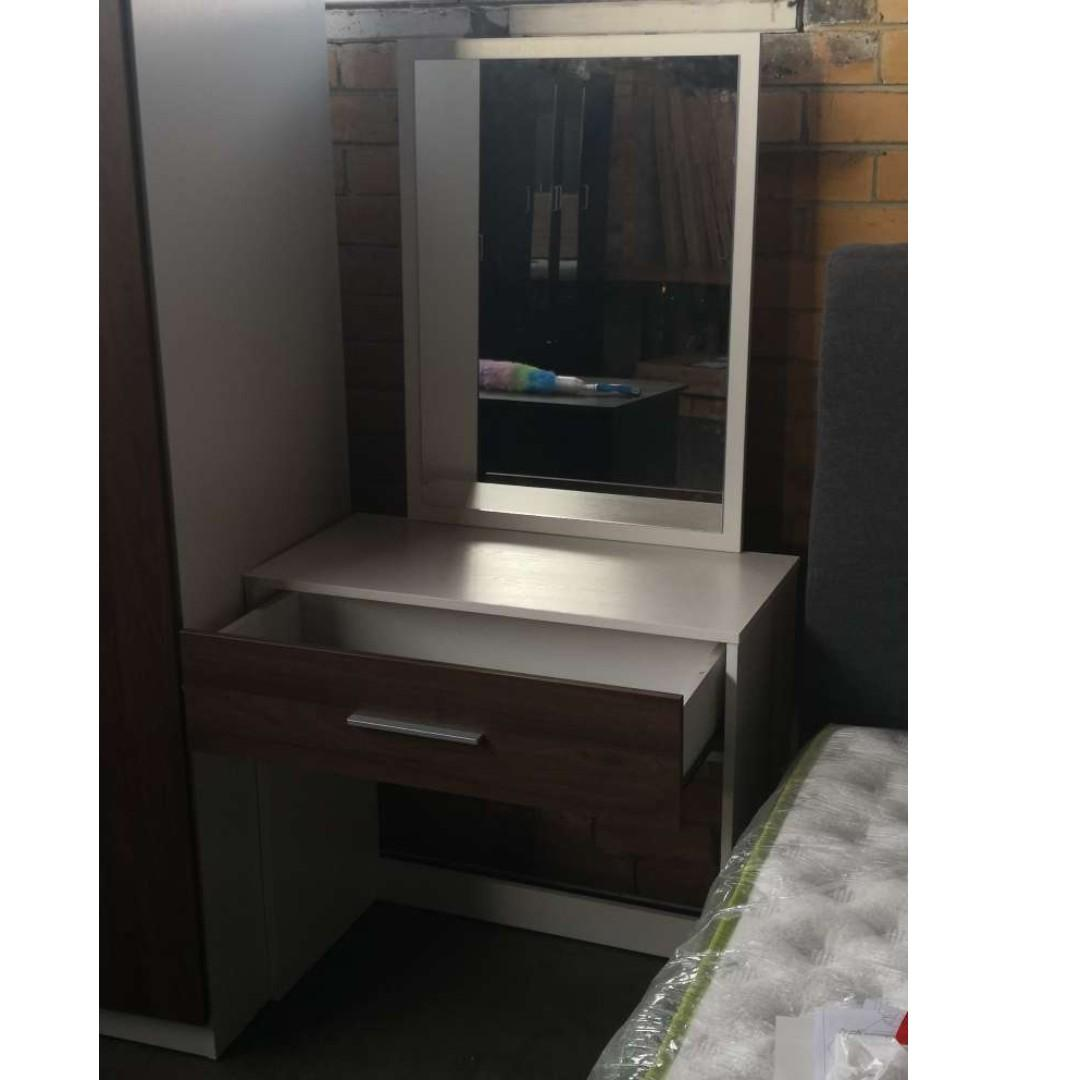 Final Sale ! Dresser with Drawer and Mirror $79 -WALNUT & WHITE Colour