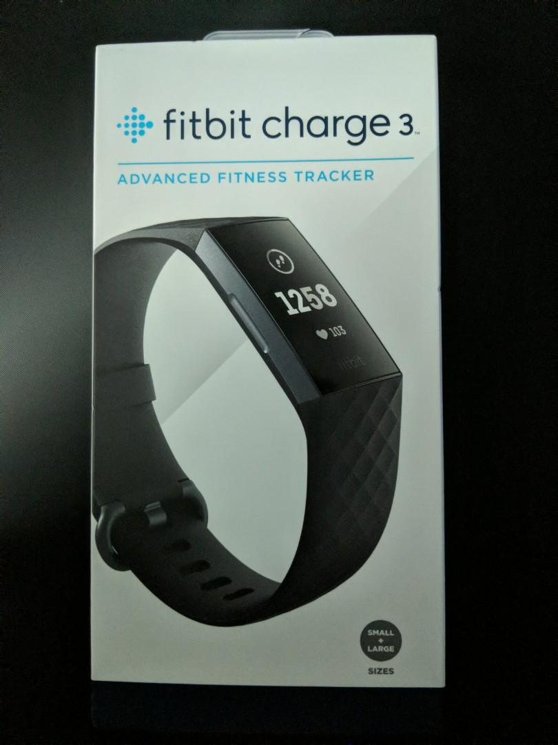 Fitbit Charge 3 Advance Fitness Tracker Black Graphite Aluminum Brand New Sealed