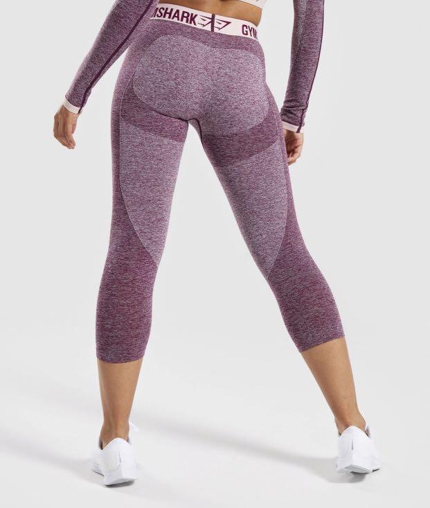 Gymshark Gym Shark Flex crop leggings tights Dark Ruby/Marl/Blush Sz XS