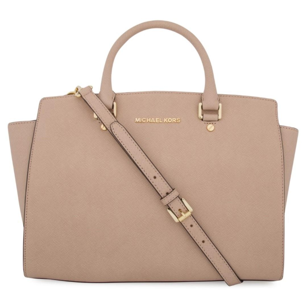 LIKE NEW MICHAEL KORS Blush Nude Large Selma Top Zip Satchel HARD TO FIND COLOUR
