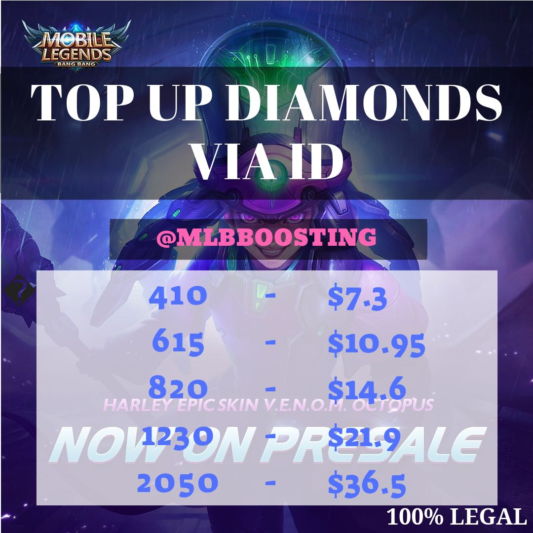 MOBILE LEGENDS DIAMOND TOP UP VIA ID, Toys & Games, Video