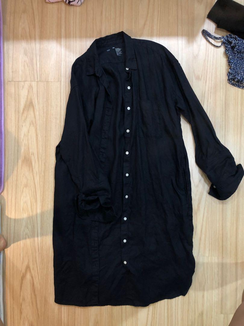 MUJI 無印良品 女裝印度棉二重紗織襯衫洋裝黑色 xs