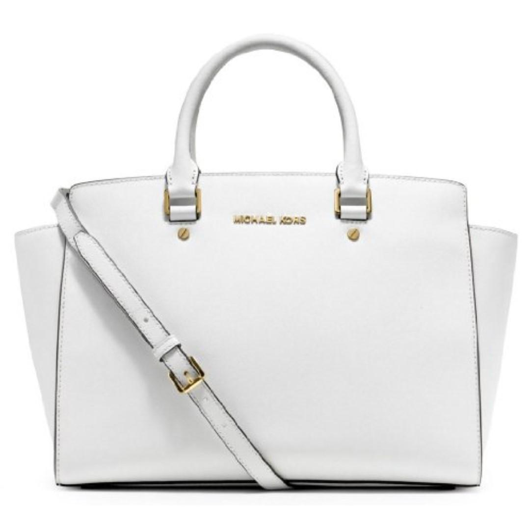 NWT MICHAEL KORS Optic White Large Selma Top-Zip Satchel *HARD TO FIND COLOUR*