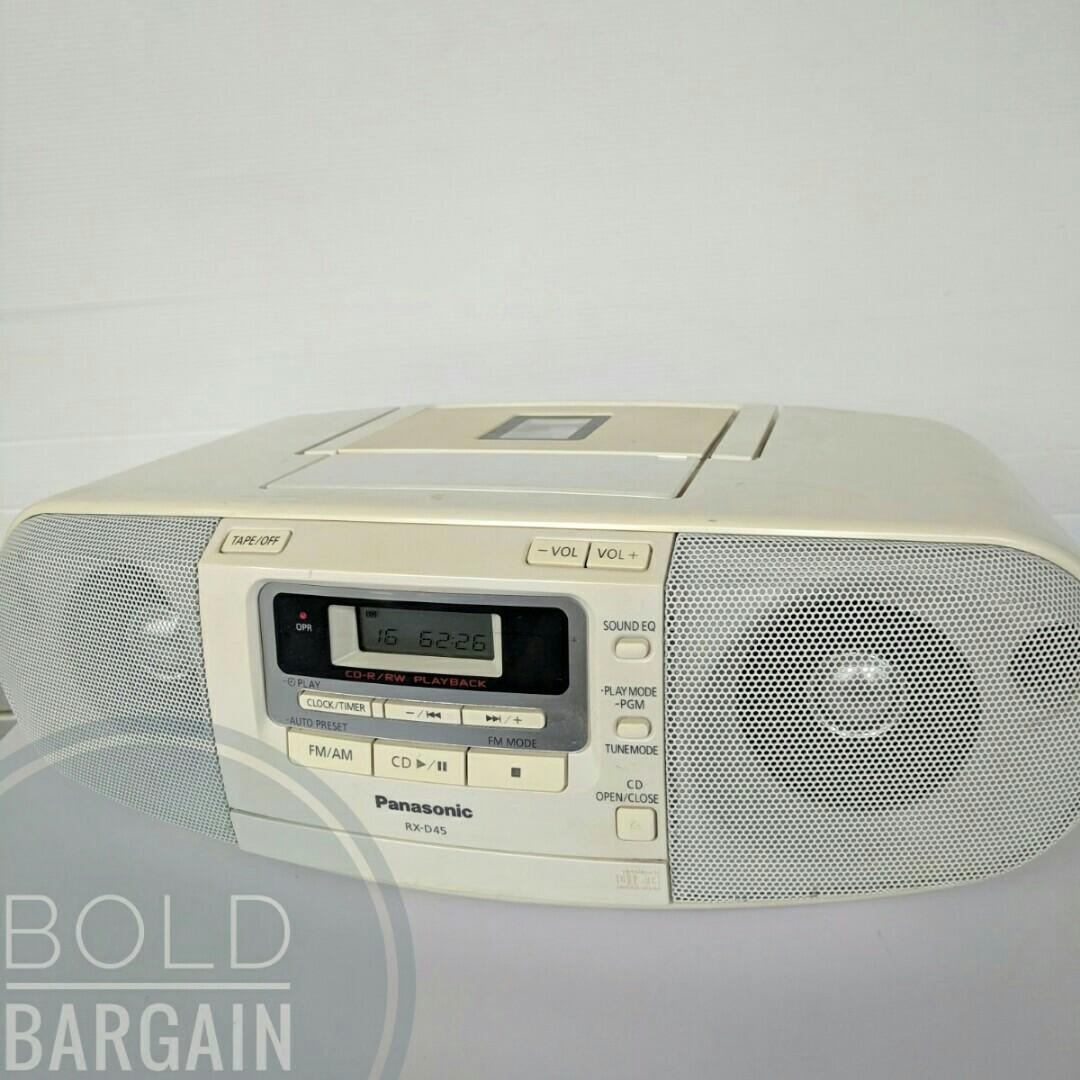 Panasonic RX-D45 CD CDRW Cassette Tape Player Recorder with Digital AM FM Radio