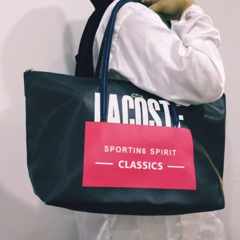 Lacoste Tote Large Shoulder Bag For Casual & Office With Zipper Brick Pattern.