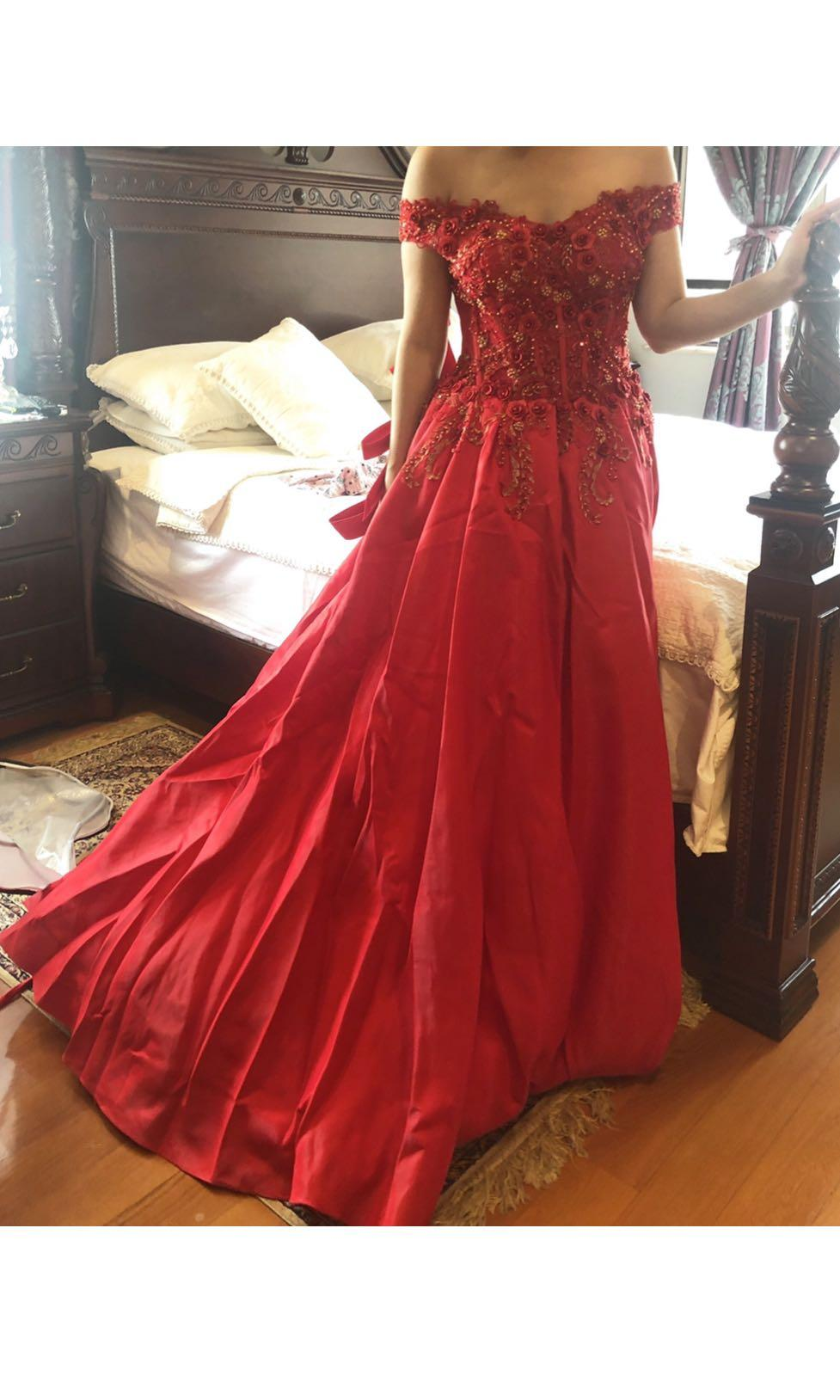 Red evening gown for wedding/ events - Adjustable back straps