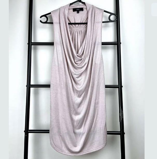 SABA sz S baby pink blush cowl drape tank top shirt blouse smart casual work