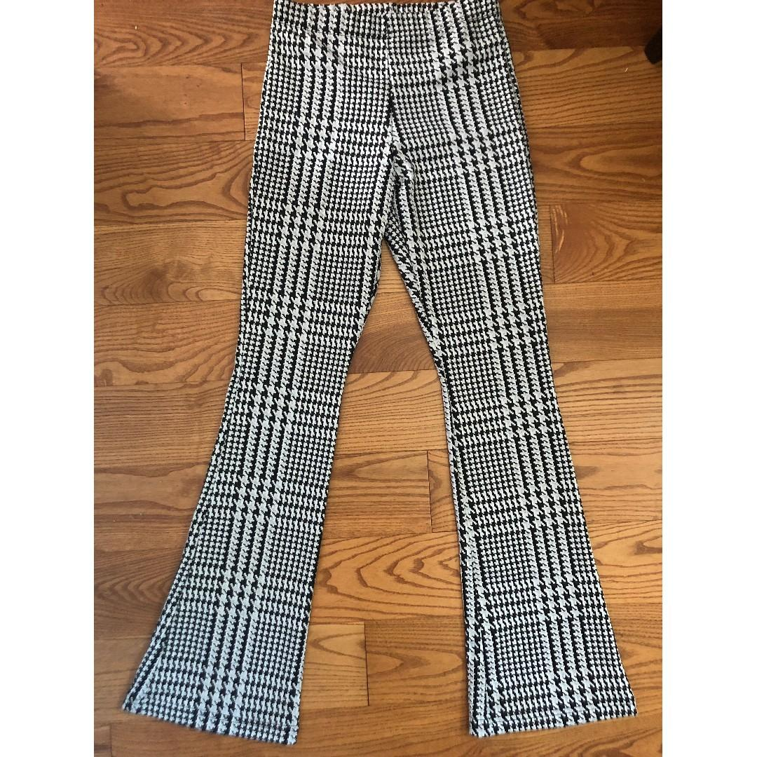 TOPSHOP Check Flared Trousers