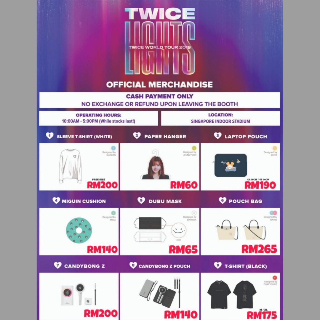 TWICE WORLD TOUR 2O19 TWICELIGHTS IN SINGAPORE MERCHANDISE 🌸