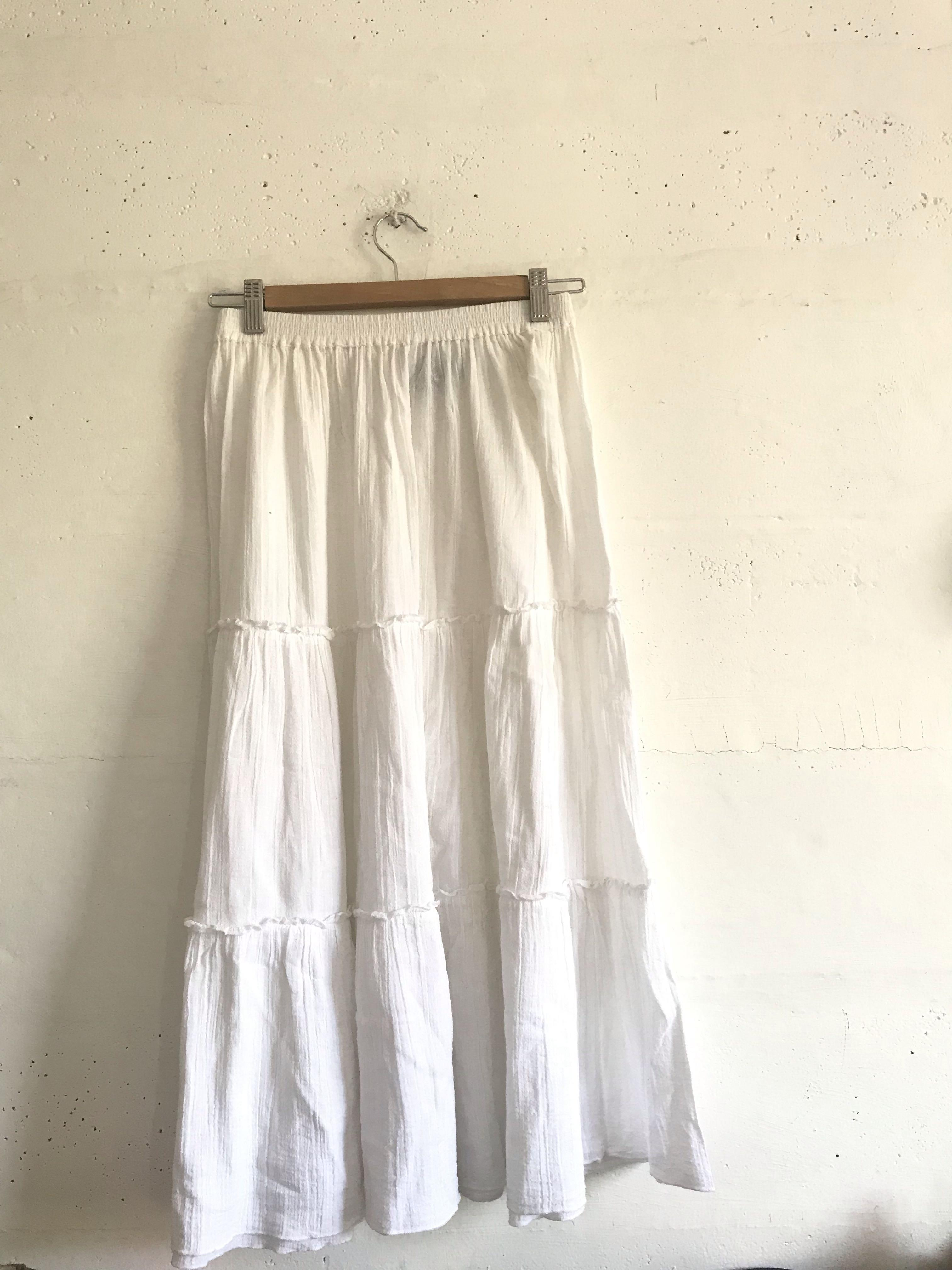 White Long Bohemian Skirt On Carousell
